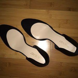 Nine West Blck Faux Suede Leather Block Heels 11M